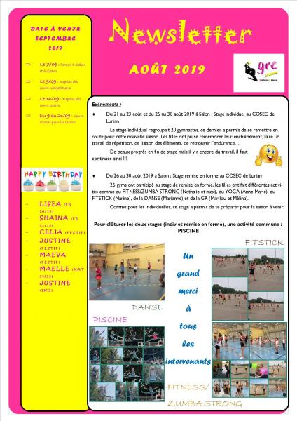 17 newsletter aout 2019